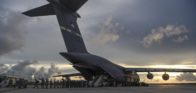 A U.S. Air Force C-5M Super Galaxy assigned to the 22nd Airlift Squadron, Travis Air Force Base (AFB), Calif., arrives at Andersen AFB, Guam July 24, 2017. The C-5 transported equipment and personnel assigned to 37th Expeditionary Bomb Squadron, deployed from Ellsworth AFB, S.D. The 37th EBS replaces the 9th EBS from Dyess AFB, Texas, which is currently supporting U.S. Pacific Command's Continuous Bomber Presence mission. (U.S. Air Force photo/Tech. Sgt. Richard P. Ebensberger)