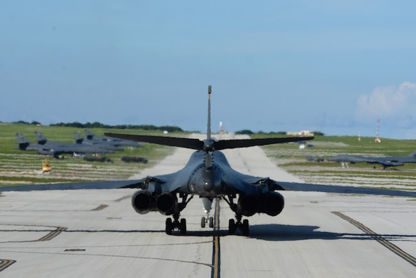 A U.S. Air Force B-1B Lancer assigned to the 37th Expeditionary Bomb Squadron, deployed from Ellsworth Air Force Base (AFB), S.D., arrives at Andersen AFB, Guam July 26, 2017. The 37th EBS replaces the 9th EBS from Dyess AFB, Texas, which is currently supporting U.S. Pacific Command's Continuous Bomber Presence mission. (U.S. Air Force photo/Airman 1st Class Gerald Willis)