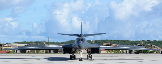 A U.S. Air Force B-1B Lancer assigned to the 37th Expeditionary Bomb Squadron, deployed from Ellsworth Air Force Base (AFB), S.D., arrives at Andersen AFB, Guam July 26, 2017. The aircraft is deployed in support of U.S. Pacific Command's Continuous Bomber Presence operations. These aircraft, and the men and women who fly and support them, provide a significant capability that enables our readiness and commitment to deterrence, provides assurances to our allies, and strengthens regional security and stability in the Indo-Asia-Pacific region. (U.S. Air Force photo/Airman 1st Class Gerald Willis)