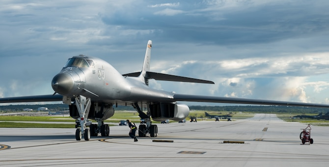 A U.S. Air Force B-1B Lancer assigned to the 37th Expeditionary Bomb Squadron, deployed from Ellsworth Air Force Base (AFB), S.D., arrives at Andersen AFB, Guam July 26, 2017. The 37th EBS replaces the 9th EBS from Dyess AFB, Texas, which is currently supporting U.S. Pacific Command's Continuous Bomber Presence mission. (U.S. Air Force photo/Tech. Sgt. Richard P. Ebensberger)