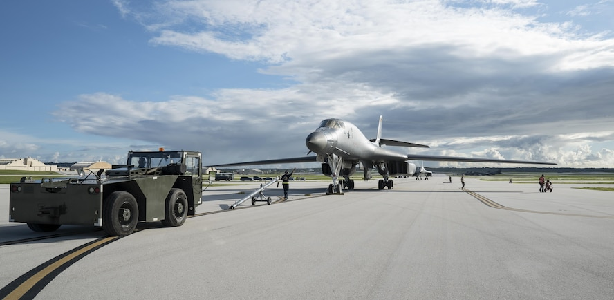 A U.S. Air Force B-1B Lancer assigned to the 37th Expeditionary Bomb Squadron, deployed from Ellsworth Air Force Base (AFB), S.D., arrives at Andersen AFB, Guam July 26, 2017. The aircraft is deployed in support of U.S. Pacific Command's Continuous Bomber Presence operations. These aircraft, and the men and women who fly and support them, provide a significant capability that enables our readiness and commitment to deterrence, provides assurances to our allies, and strengthens regional security and stability in the Indo-Asia-Pacific region. (U.S. Air Force photo/Tech. Sgt. Richard P. Ebensberger)