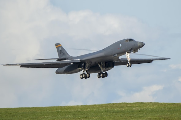 A U.S. Air Force B-1B Lancer assigned to the 37th Expeditionary Bomb Squadron, deployed from Ellsworth Air Force Base (AFB), S.D., arrives at Andersen AFB, Guam July 26, 2017. The aircraft is deployed in support of U.S. Pacific Command's Continuous Bomber Presence operations. These aircraft, and the men and women who fly and support them, provide a significant capability that enables our readiness and commitment to deterrence, provides assurances to our allies, and strengthens regional security and stability in the Indo-Asia-Pacific region. (U.S. Air Force photo/Airman 1st Class Christopher Quail)