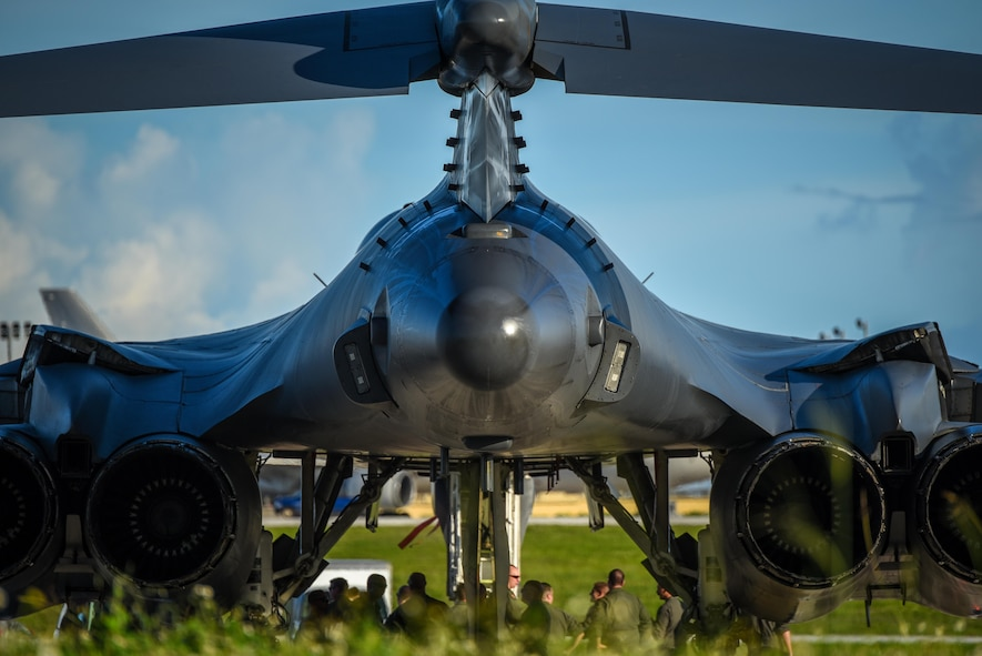 A U.S. Air Force B-1B Lancer assigned to the 37th Expeditionary Bomb Squadron, deployed from Ellsworth Air Force Base (AFB), S.D., arrives at Andersen AFB, Guam July 26, 2017. Air Force Global Strike Command continues to routinely deploy bombers to Guam, which provides opportunities to strengthen regional alliances and long-standing military-to-military partnerships throughout the Indo-Asia-Pacific region. (U.S. Air Force photo/Staff Sgt. Joshua Smoot)