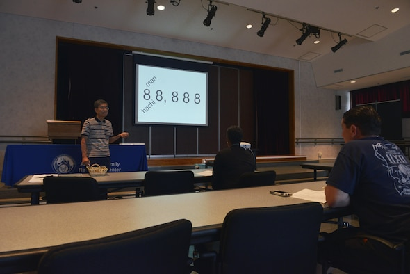 Kenny Fukuoka, Survival Japanese Course instructor, reviews how to properly say numbers in Japanese with the class members during the course at Yokota Air Base, Japan, Aug. 1, 2017. There will be two more courses offered this year; the first session is from Aug. 29 to Oct. 10, and the second goes from Oct. 31 to Dec. 5. Contact the A&FRC at 225-8725 to sign up or receive more information. (U.S. Air Force photo by Staff Sgt. David Owsianka)