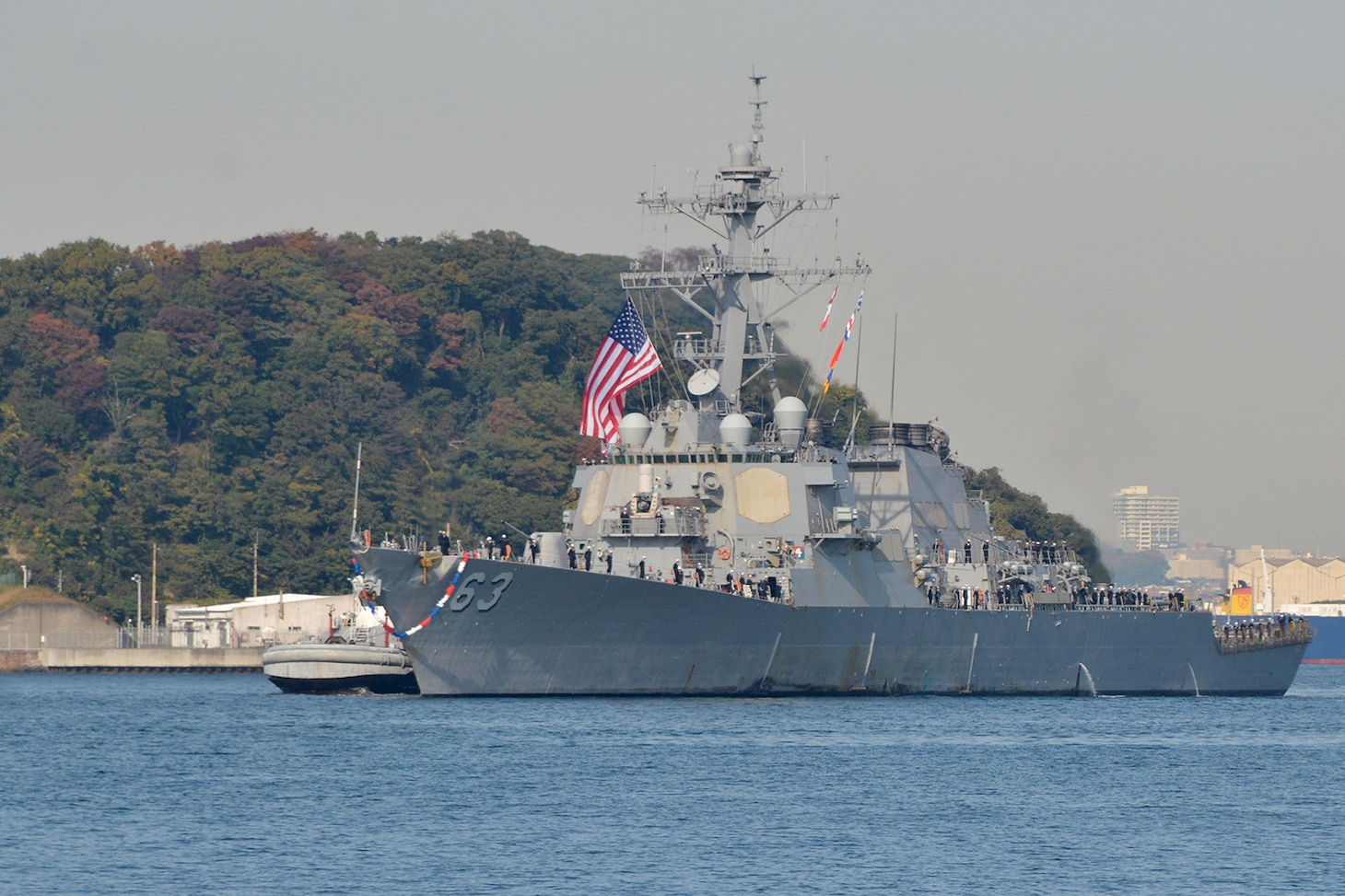 YOKOSUKA, Japan (Nov. 17, 2016) The Arleigh Burke-class guided-missile destroyer USS Stethem (DDG 63) returns to Fleet Activities (FLEACT) Yokosuka following its 2016 patrol. Stethem made a brief stop at FLEACT Sasebo to pick up family members for a Tiger Cruise. FLEACT Yokosuka provides, maintains, and operates base facilities and services in support of 7th Fleet's forward-deployed naval forces, 83 tenant commands, and 24,000 military and civilian personnel.