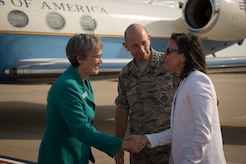 U.S. Air Force General Mike Holmes, commander of Air Combat Command, introduces his wife Sara to Air Force Secretary Heather Wilson, during Wilson's visit to Joint Base Langley-Eustis, Va., Aug. 3, 2017. Wilson met with ACC and JBLE senior leaders and spoke with Airmen on the unique capabilities JBLE has to offer to the Air Force's mission. (U.S. Air Force phot/Staff Sgt. Carlin Leslie)