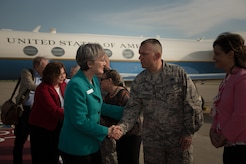 U.S. Air Force Secretary Heather Wilson shakes hands with Col. Sean Tyler, 633rd Air Base Wing commander, during her visit to Joint Base Langley-Eustis, Va., Aug. 3, 2017. Wilson discussed the future of the Air Force with Air Combat Command and JBLE senior leaders during her visit. (U.S. Air Force phot/Staff Sgt. Carlin Leslie)