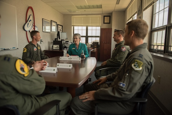 Air Force Secretary Heather Wilson meets with 1st Fighter Wing pilots during her visit to Joint Base Langley-Eustis, Va., Aug. 3, 2017. The 1st FW is the Air Force's largest operational F-22 unit. Wilson spoke directly to pilots to get a better sense of why retention has become a major issue. (U.S. Air Force photo/Staff Sgt. Carlin O. Leslie)