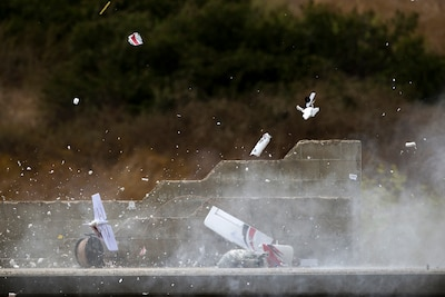 An explosion rips apart an unmanned aircraft during the Raven's Challenge EOD exercise at Camp Pendleton