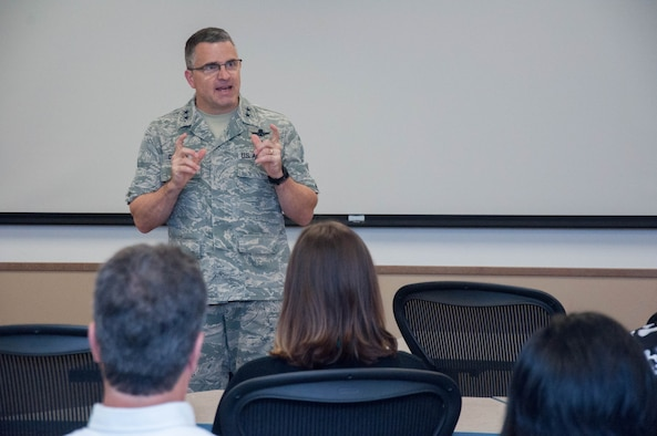"DAYTON, Ohio – Air Force Research Laboratory Commander Maj. Gen. William T. Cooley delivers opening remarks at the AFRL Commander's Challenge 2017 kick off Aug. 2 at the Wright Brothers Institute Tec^Edge Innovation and Collaboration Center here. This year's challenge is ""Precision Remote Resupply,"" designed to support combat troops deployed from a forward operating base. (U.S. Air Force photo/John Harrington)"