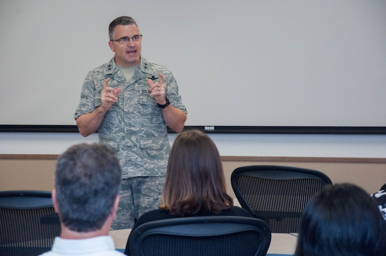 """DAYTON, Ohio – Air Force Research Laboratory Commander Maj. Gen. William T. Cooley delivers opening remarks at the AFRL Commander's Challenge 2017 kick off Aug. 2 at the Wright Brothers Institute Tec^Edge Innovation and Collaboration Center here. This year's challenge is """"Precision Remote Resupply,"""" designed to support combat troops deployed from a forward operating base. (U.S. Air Force photo/John Harrington)"""