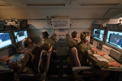 Air Force aircrew members from the Georgia Air National Guard's 116th Air Control Wing monitor surveillance data while flying a night mission aboard an E-8C Joint Surveillance Target Attack Radar System aircraft