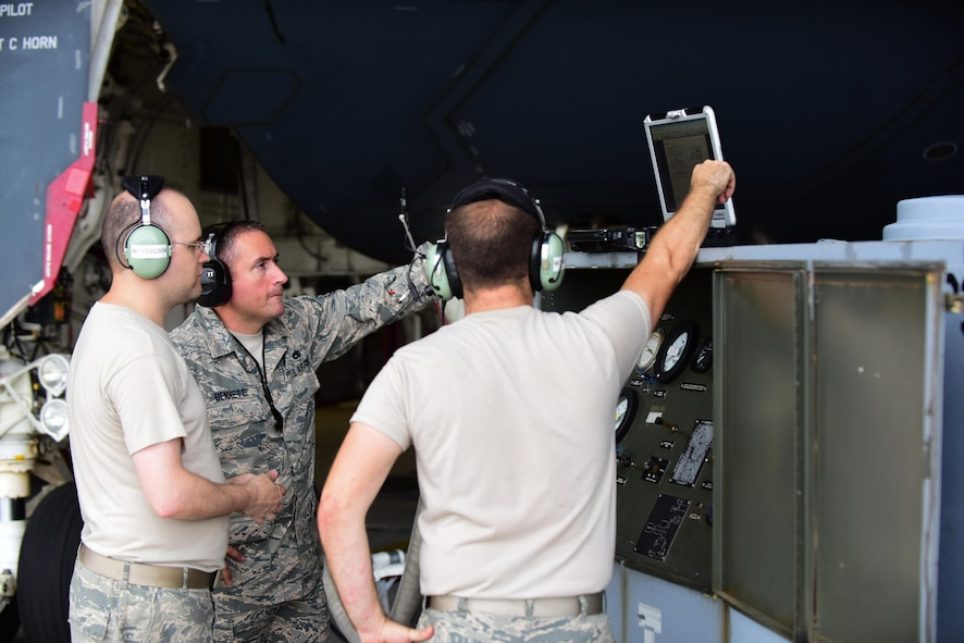 Aircraft electrical and environmental system technicians with the 509th and 131st Aircraft Maintenance Squadrons set up a cabin pressure tester cart at Whiteman Air Force Base, Mo., July 27, 2017. Cabin pressurization creates a safe and comfortable environment for the pilots when they fly missions at altitudes as high as 50,000 feet.