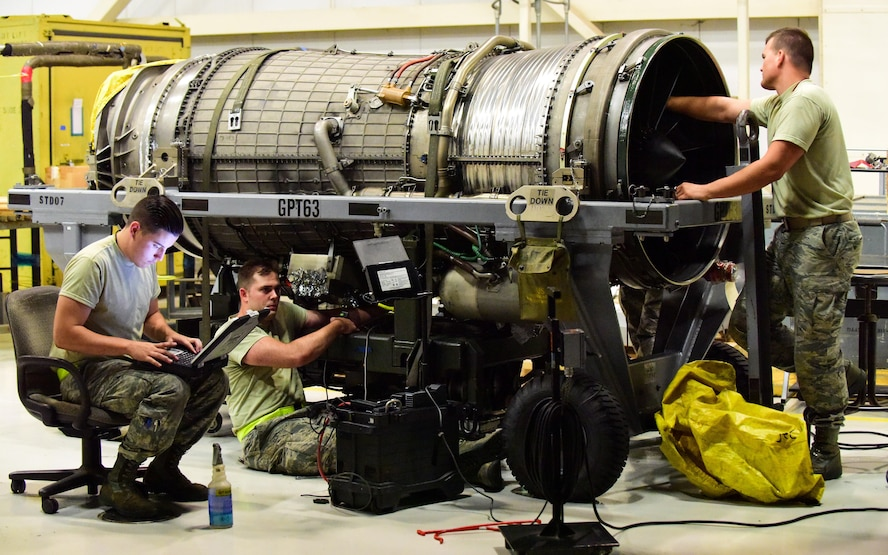 Aircraft propulsion system specialist with the 509th Aircraft Maintenance Squadron inspect the interior of a B-2 Spirit engine at Whiteman Air Force Base, Mo., July 27, 2017. The inspection was performed to determine the serviceability of the engine before it was installed into a B-2.