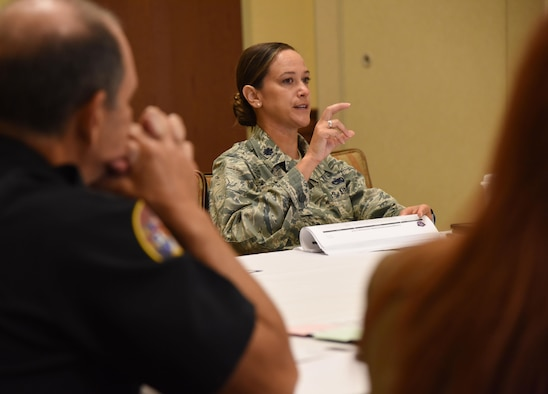 Lt. Col. Melissa Rativa, 81st Logistics Readiness Squadron commander, shares her ideas during the quality of life/community benefit group discussion during the Air Force Community Partnership Program Ideas Workshop at the Bay Breeze Event Center July 27, 2017, on Keesler Air Force Base, Miss. The program administrators are working to leverage military and local community capabilities and resources to achieve mutual value and benefit in support of the Air Force and its business partners. (U.S. Air Force photo by Kemberly Groue)