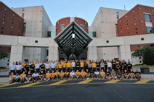 DLA military members assemble in front of the McNamara Headquarters Complex the morning of Aug. 4, before their 5K run.