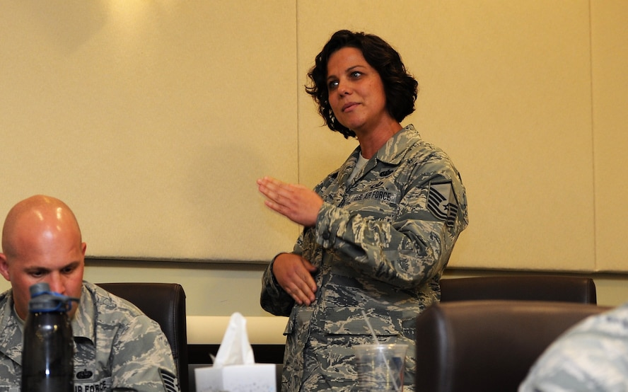 Master Sgt. Moira Howerton, 113th Medical Group first sergeant asks a panel of chief master sergeants a question