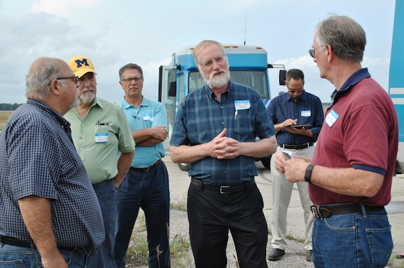 Bob Delaney, an environmental quality specialist with the Michigan Department of Environmental Quality, talks to fellow members of the Wurtsmith Restoration Advisory Board