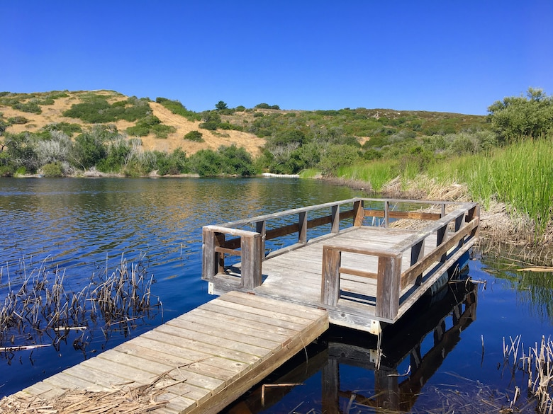 A dock sitting at a lake.