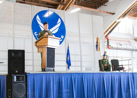 Lt. Col. Mark Sletten, 8th Fighter Squadron commander, gives a speech during the 8th FS activation ceremony at Holloman Air Force Base, N.M. Aug. 4, 2017. The 8th FS has been reactivated six years after its last inactivation May 13, 2011. Sletten took command of the 8th FS at an activation ceremony led by Col. James Keen, 54th Fighter Group commander. (U.S. Air Force photo Airman 1st Class Alexis P. Docherty)