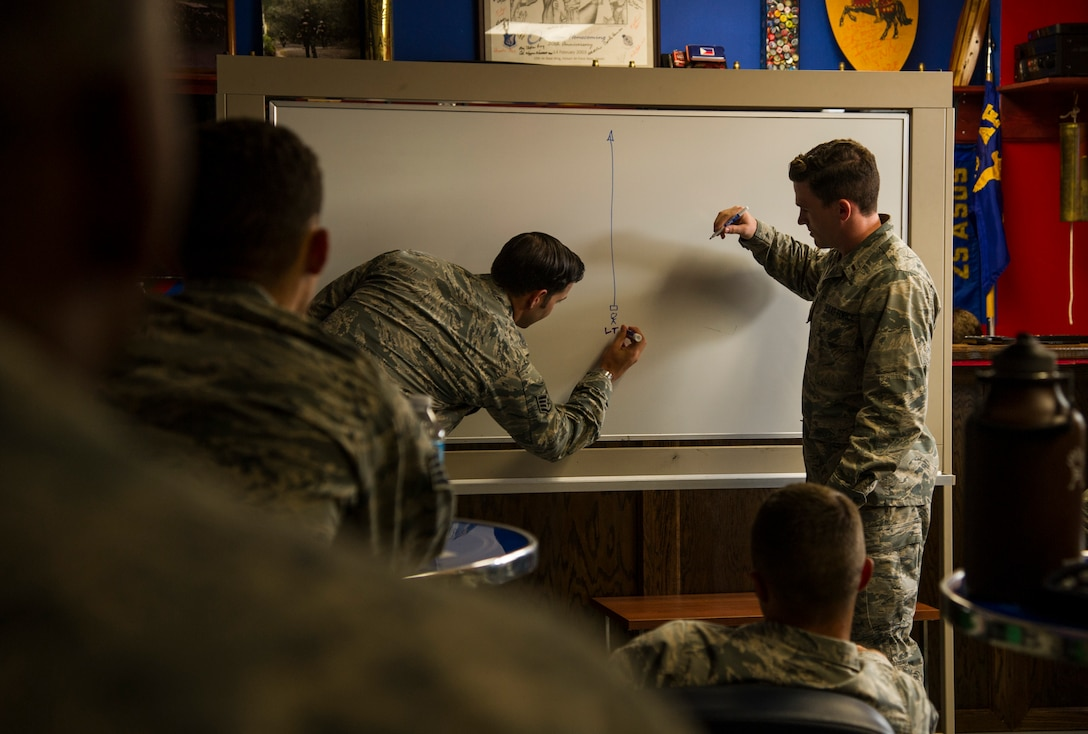 Staff Sgt. Evan Barnhart and 2nd Lt. Reace Hudgeons, 25th Air Support Operations Squadron, teach Security Forces members from the Pacific about Terminal Guidance Operations during a week-long close air support familiarization course, Schofield Barracks, Hawaii, Aug. 1, 2017. The course is designed to help increase base defense capabilities by training Security Forces Airmen to call in 9-lines for close air support at their local installations. (U.S. Air Force photo by Tech. Sgt. Heather Redman)