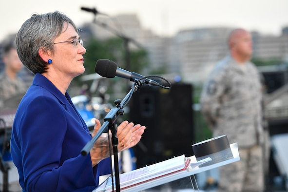 Secretary of the Air Force Heather Wilson honors Portraits in Courage Airmen during the final 2017 Heritage to Horizons summer concert series, performed by the Air Force Band in Arlington, Va., Aug. 4, 2017.  (U.S Air Force photo/Scott M. Ash)
