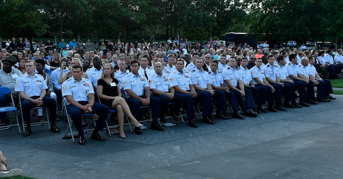 Members of the 2016 Portraits in Courage Airmen attend the final 2017 Heritage to Horizons summer concert series, in their honor, performed by the Air Force Band in Arlington, Va., Aug. 4, 2017.  (U.S Air Force photo/Scott M. Ash)