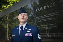 Tech. Sgt. Jason D. Selberg, the Air National Guard's 2016 Outstanding NCO of the Year, poses for a photo at the Air Force Memorial in Washington D.C. May 31, 2017. Selberg is assigned to the 214th Reconnaissance Squadron, Arizona ANG, and was also named one of the U.S. Air Force's 12 Outstanding Airmen of the Year, out of the 105,700 Airmen in the Air National Guard.
