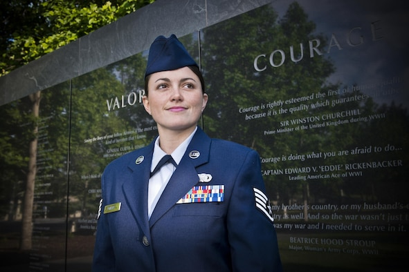 Staff Sgt. Lacey Miller, the Air National Guard's 2016 Outstanding Airman of the Year, poses for a photo at the Air Force Memorial in Washington D.C. May 31, 2017. Miller is assigned to the 290th Joint Communications Support Squadron, Florida ANG, and was chosen for the honor among all junior enlisted Airmen in the Air National Guard. (U.S. Air National Guard photo/Master Sgt. Marvin Preston)