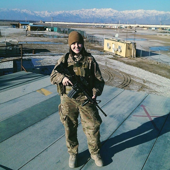 Staff Sgt. Lacey Miller, the Air National Guard's 2016 Outstanding Airman of the Year, poses for a photo at Bagram Air Base, Afghanistan, April 26, 2016, where she was deployed in support of Operation Freedom's Sentinel. Miller is assigned to the 290th Joint Communications Support Squadron, Florida ANG, and was chosen for the honor among all junior enlisted Airmen in the Air National Guard.