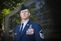 Master Sgt. Thomas DuMont, the Air National Guard's 2016 Outstanding Senior Noncommissioned Officer of the Year, poses for a photo at the Air Force Memorial in Washington D.C., May 31, 2017. DuMont is assigned to the 157th Air Operations Group, Missouri ANG, and was chosen for the honor among all Senior NCOs across the Air National Guard.