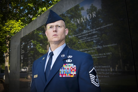 Master Sgt. Thomas DuMont, the Air National Guard's 2016 Outstanding Senior Noncommissioned Officer of the Year, poses for a photo at the Air Force Memorial in Washington D.C., May 31, 2017. DuMont is assigned to the 157th Air Operations Group, Missouri ANG, and was chosen for the honor among all Senior NCOs across the Air National Guard. (U.S. Air National Guard photo/Master Sgt. Marvin Preston)