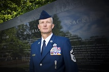 Senior Master Sgt. Jason Handa, the Air National Guard's 2016 Outstanding First Sergeant of the Year, poses for a photo at the Air Force Memorial in Washington D.C. May 31, 2017. Handa is assigned to the 162nd Wing, Arizona Air National Guard, and was chosen for the honor among all first sergeants across the Air National Guard.