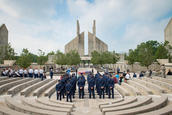 Airmen assigned to the 62nd Fighter Squadron stand in formation during the funeral service for 2nd Lt. Charles E. Carlson at the Indiantown Gap National Cemetery in Annville, Penn., Aug. 4, 2017. Approximately 50 Airmen traveled more than 2,000 miles to attend the funeral of former 62nd FS 2nd Lt. Charles E. Carlson, who died during WWII after being shot down. (U.S. Air Force photo/Staff Sgt. Jensen Stidham)