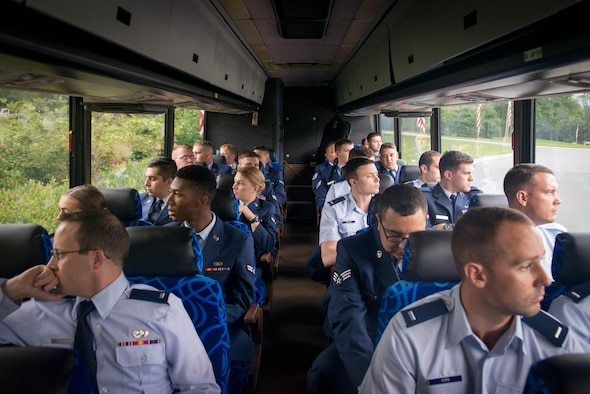 Airmen assigned to the 62nd Fighter Squadron at Luke Air Force Base, Ariz, travel to the Indiantown Gap National Cemetery in Annville Penn., Aug. 4, 2017. Approximately 50 Airmen traveled more than 2,000 miles on plane and bus to attend the funeral of former 62nd FS 2nd Lt. Charles E. Carlson, who died during World War II after being shot down. (U.S. Air Force photo/Staff Sgt. Jensen Stidham)
