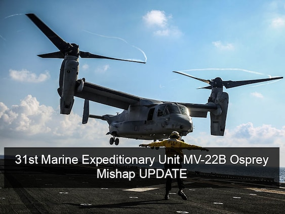 MARINE CORPS BASE CAMP BUTLER, Okinawa, Japan – On Aug. 6 at around 3:00 a.m. local time, the U.S. Navy and Marine Corps suspended search and rescue operations for three Marines involved in the Aug. 5 MV-22 Osprey mishap off the east coast of Australia. Operations have now shifted to recovery efforts. The next-of-kin for the three missing Marines have been notified.