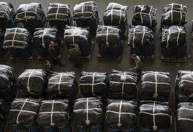 Overhead shot of pallets for air drop