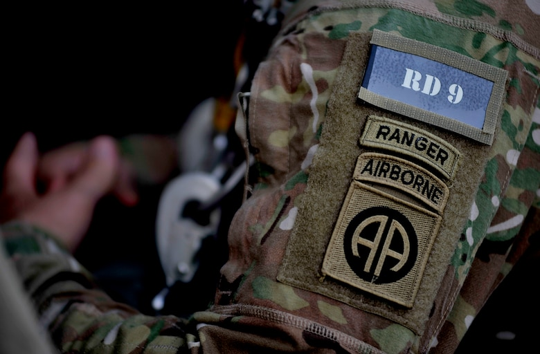 Up close view of 82nd Airborne Division patches on a uniform