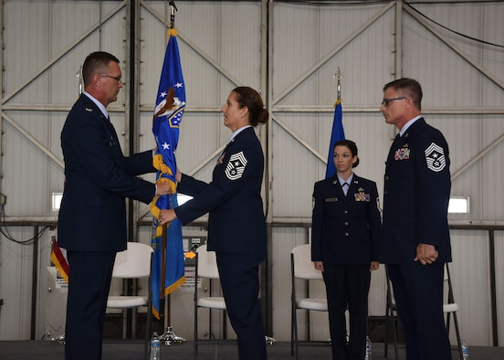 Chief Master Sgt. Zona Hornstra assumed the duties and responsibilities as the Command Chief of the 114th Fighter Wing during a ceremony at Joe Foss Field, Aug. 5, 2017. Chief Hornstra serves as the principal advisor to the commander and his staff on matters of health, morale and welfare, professional development, diversity, inclusion, mentoring and force development of more than 1,000 South Dakota Air National Guard members. (U.S. Air National Guard photo by Staff Sgt. Luke Olson/Released)