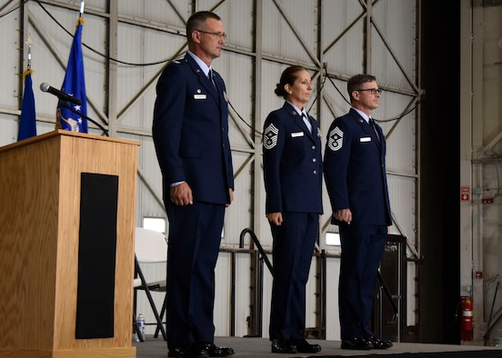 Chief Master Sgt. Zona Hornstra assumed the duties and responsibilities as the Command Chief of the 114th Fighter Wing during a ceremony at Joe Foss Field, Aug. 5, 2017. Chief Hornstra serves as the principal advisor to the commander and his staff on matters of health, morale and welfare, professional development, diversity, inclusion, mentoring and force development of more than 1,000 South Dakota Air National Guard members. (U.S. Air National Guard photo by Staff Sgt. Duane Duimstra/Released)