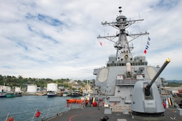 170804-N-VG727-330 HONIARA, Guadalcanal (Aug. 4, 2017) The Arleigh Burke-class guided-missile destroyer USS Barry (DDG 52) arrives in Guadalcanal to commemorate the 75th anniversary of the Guadalcanal Campaign. The 75th commemoration is a tribute to the courage, service, and sacrifice of those who fought in the Guadalcanal Campaign of World War II. (U.S. Navy photo by Mass Communication Specialist 2nd Class William Collins III/Released)