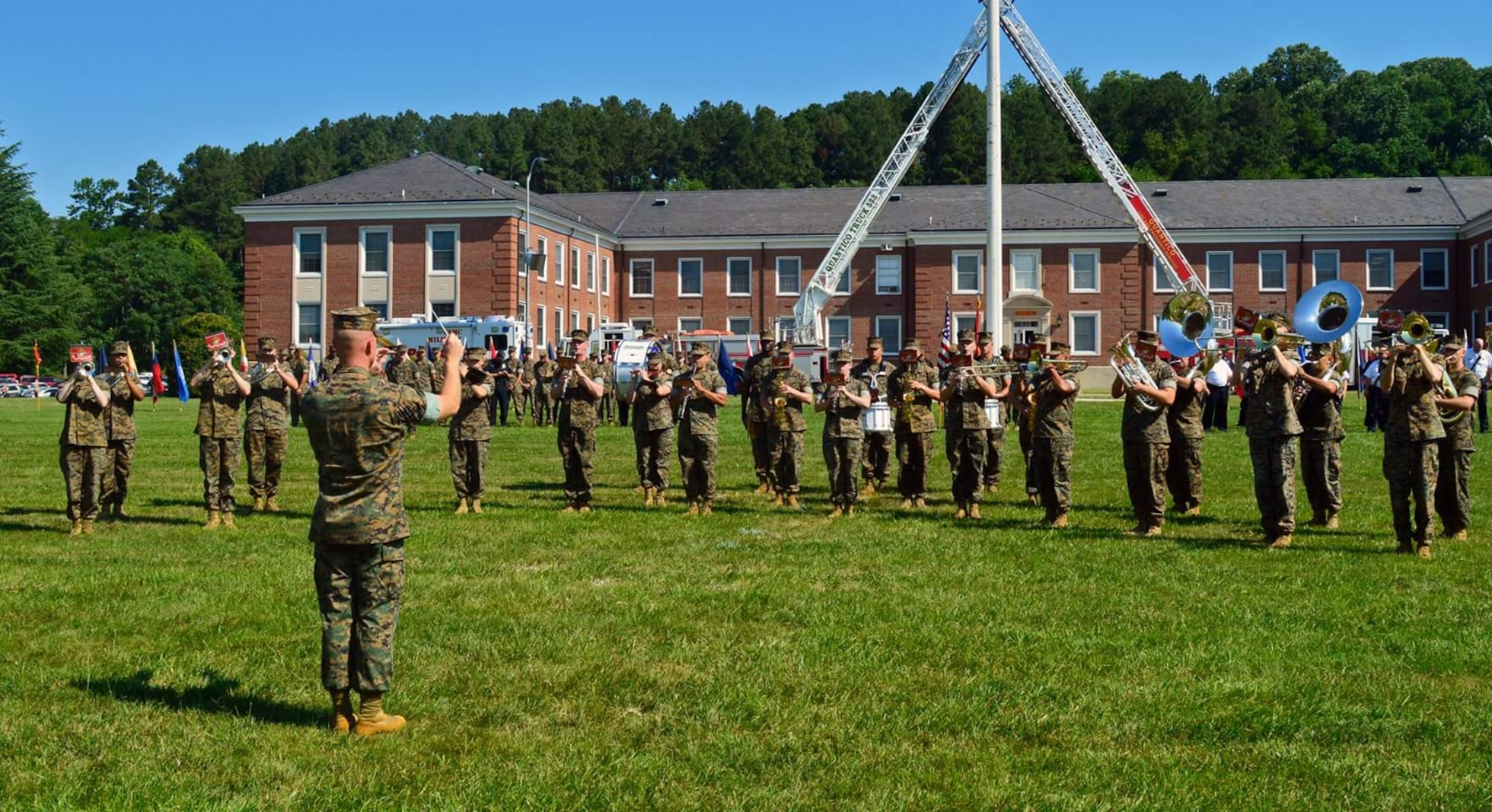 All music from the Security Battalion Change of Command Ceremony was conducted by the MCB Quantico Marine Band.