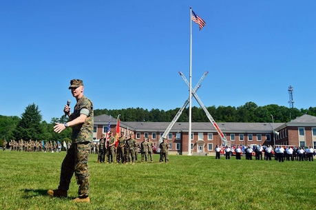 LtCol Mark T. Schnakenberg addresses Security Battalion for the first time as the Commanding Officer.