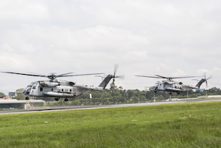 U.S. Marines prepare their CH-53E Super Stallion helicopter for takeoff from La Aurora International Airport in Guatemala City, Guatemala, Aug. 1, 2017.