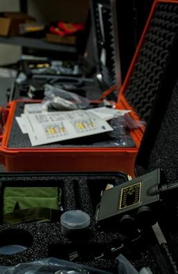 Various tools used by U.S. Air Force Emergency Management sit on a table at MacDill Air Force Base, Fla., Aug. 2, 2017. These tools are primarily used during a chemical-related emergency, requiring emergency managers to test the composition of a substance to deem the area safe. (U.S. Air Force photo by Airman 1st Class Adam R. Shanks)