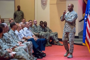 Chief Master Sgt. of the Air Force Kaleth O. Wright discusses recent changes to enlisted professional development education during a senior non-commissioned officers call on July 31, 2017 at Joint Base San Antonio-Randolph, Texas.  The Air Force's senior enlisted leader was at the base for an immersion with Air Education and Training Command headquarters and missions.  (U.S. Air Force photo by Sean M. Worrell)