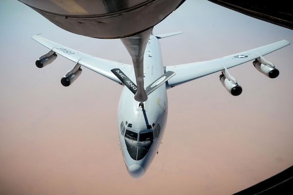 An Air Force E-8C Joint Surveillance Target Attack Radar System aircraft receives fuel from a KC-135 Stratotanker during a flight in support of Operation Inherent Resolve, Aug. 3, 2017. The JSTARS is an airborne battle management, command and control, intelligence, surveillance and reconnaissance platform, with a primary mission to provide theater ground and air commanders with ground surveillance to support attack operations and targeting that contributes to the delay, disruption and destruction of enemy forces. Air Force photo by Staff Sgt. Michael Battles
