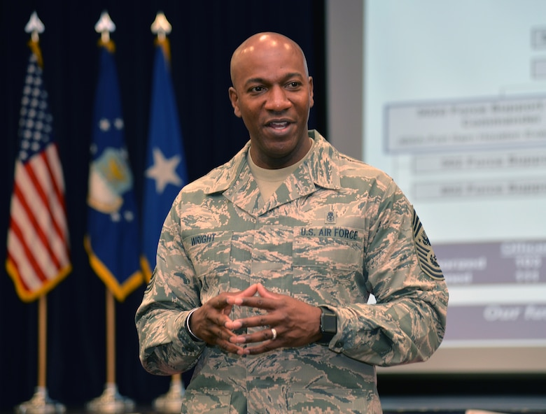 Chief Master Sgt. of the Air Force Kaleth O. Wright discusses resources available to the civilian workforce Aug. 1 at Joint Base San Antonio-Fort Sam Houston. The Air Force's senior enlisted leader met with 502nd Air Base Wing leaders to learn about the installation support mission at Joint Base San Antonio.