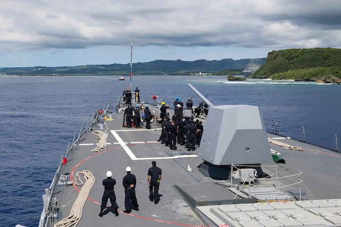 Sailors aboard the guided-missile destroyer USS Sterett (DDG 104) prepare to moor at Naval Base Guam for a scheduled port visit. Sterett is deployed in support of maritime security and stability in the Indo-Asia-Pacific and is operating under the command and control of U.S. 3rd Fleet, Aug 4, 2017. U.S. 3rd Fleet operating forward offers additional options to the Pacific Fleet commander by leveraging the capabilities of 3rd and 7th Fleets.