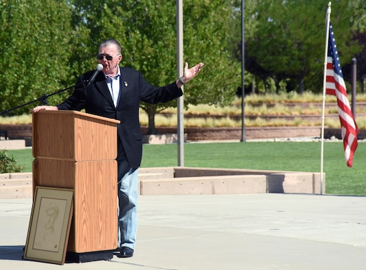 Joseph Galloway, famed war correspondent during the Vietnam War, speaks during the first ever Ernie Pyle day ceremony at the New Mexico Veterans Memorial in Albuquerque, New Mexico, August 3. Galloway spoke about Pyle being a direct inspiration to his own work, and the importance of war correspondents to victory. (U.S. Air Force Photo/Senior Airman Chandler Baker)